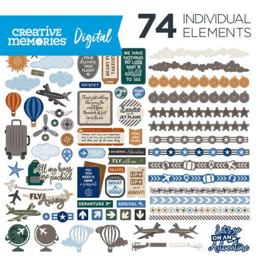 Creative Memories airplane digital elements for scrapbooking