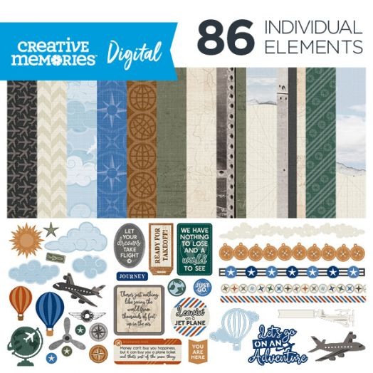 Creative Memories airplane digital scrapbook kit