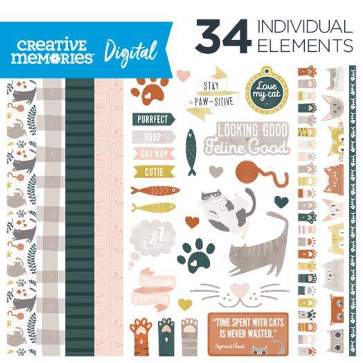 Creative Memories Cattitude cat digital scrapbooking kit - D657291