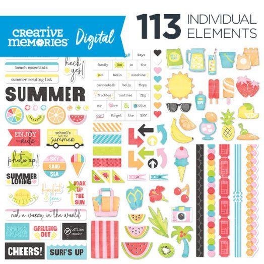Creative Memories Citrus Summer digital scrapbook elements