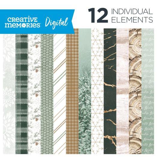 Creative Memories winter digital scrapbook paper - Winter Woods