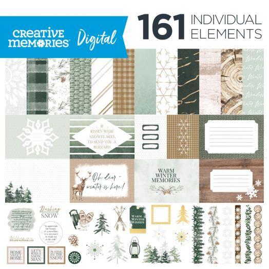 Creative Memories winter digital scrapbooking kits - Winter Woods