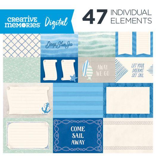 Creative Memories Deep Blue Sea digital nautical scrapbook mats - D657152