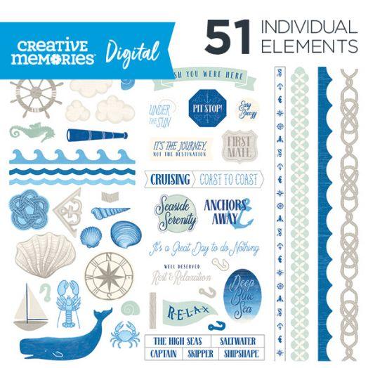 Creative Memories Deep Blue Sea nautical digital scrapbook elements - D657153