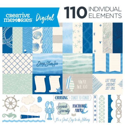 Creative Memories Deep Blue Sea nautical digital scrapbook kit - D657260