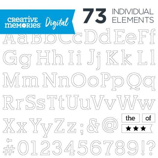 Digital White Serif ABC/123 Elements