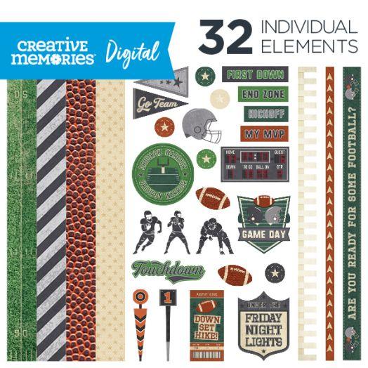 Creative Memories Gridiron football digital scrapbooking kit - D657295