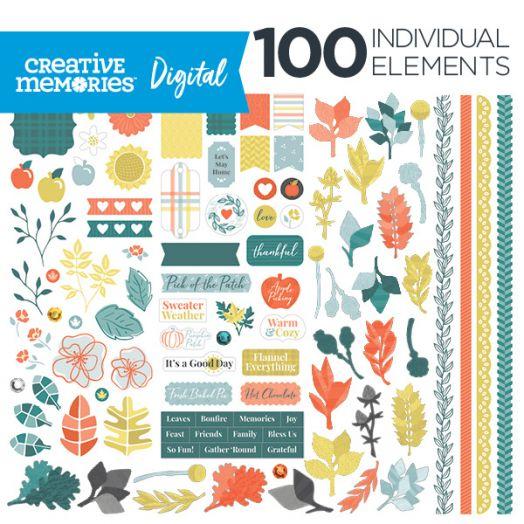 Creative Memories Harvest Delight fall digital scrapbooking elements - D657206