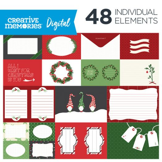 Creative Memories Merry Little Christmas digital photo mats - D657350