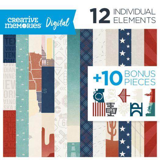 Creative Memories Scenic Route USA themed digital scrapbooking ktis