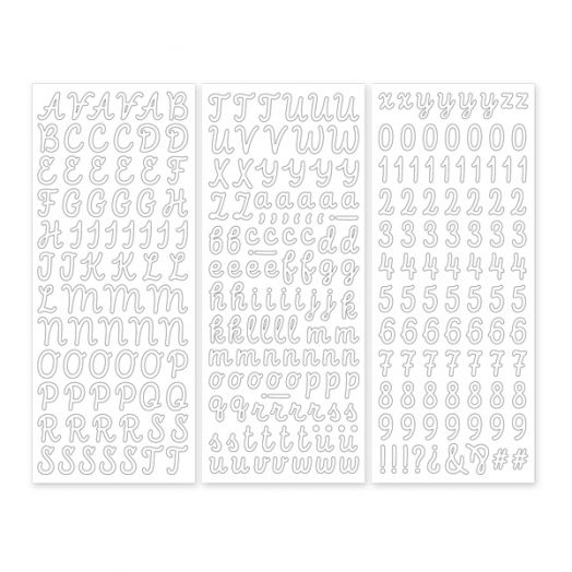 White Script ABC/123 Letter Stickers (3/pk)