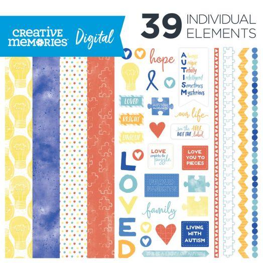 Autism Awareness Digital Scrapbooking Kit: Shine Bright