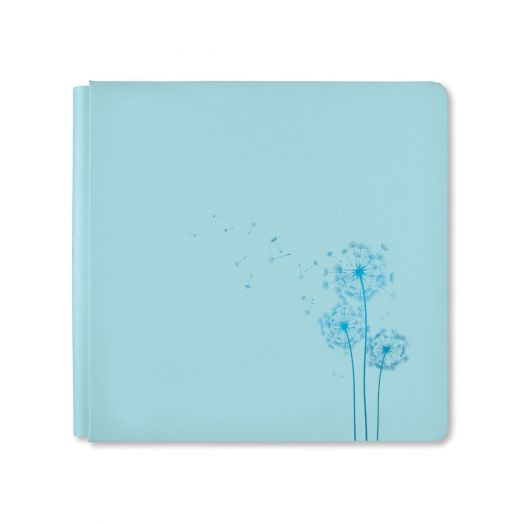 Creative Memories 12x12 Spring Medley blue spring album cover with dandelion foil design - 657750