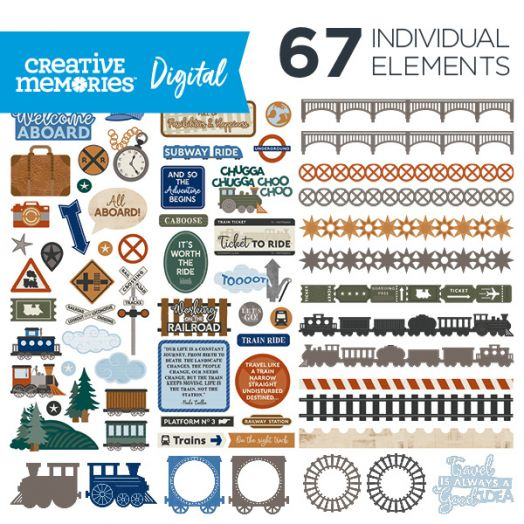 Creative Memories Trains digital elements for scrapbooking