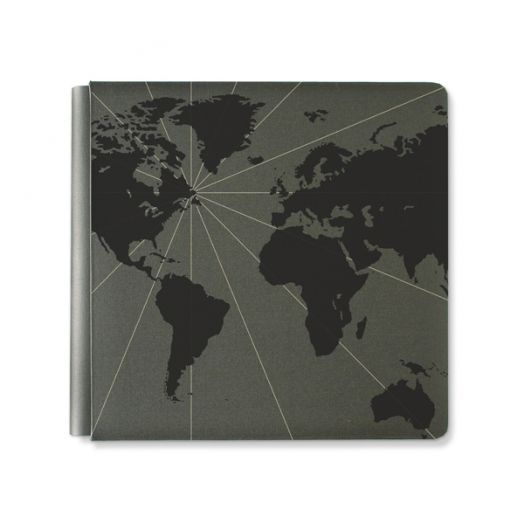 Creative Memories 12x12 black travel photo album with a foiled world map design - 657034