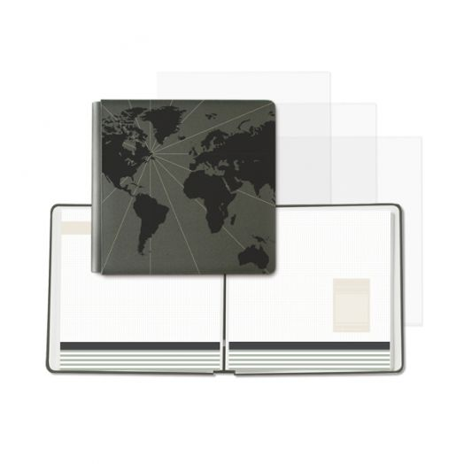 Creative Memories travel album - 12x12 black scrapbook with a foiled world map design and 16 predesigned pages - 657035