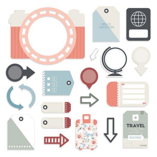 Creative Memories Travel Log travel themed scrapbook embellishments - 657044