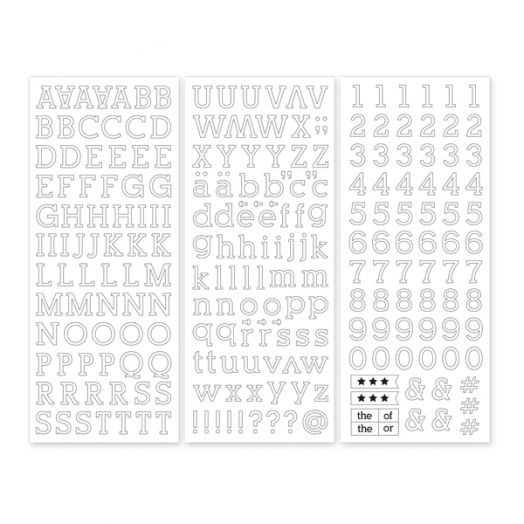 White Serif ABC/123 Letter Stickers (3/pk)